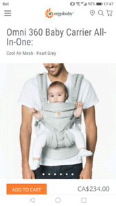 brand new ergobaby carrier omni 360 cool air in grey
