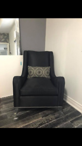 Caracole black wing back chair