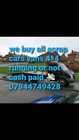 ALL SCRAP CARS VANS WANTED TELEPHONE 07944749428
