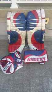 Goalie pads and blocker and catcher