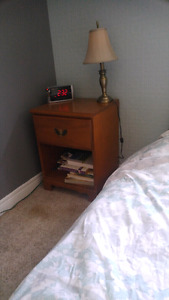 Wooden 4 drawer dresser and side table.