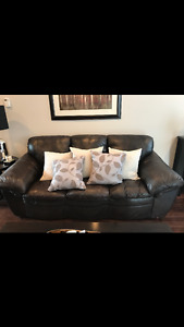 Leather couch, love seat & chair