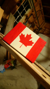 Handmade and Welded Reclaimed Wood Desktop Canada Flag