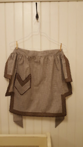 Vintage Brown and White Gingham Half Apron with Pocket