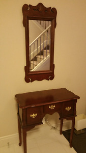 Solid wood foyer table and mirror $60