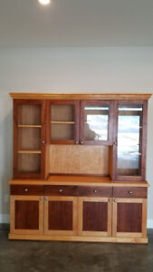 Custom built Maple, Birch and Walnut kitchen hutch