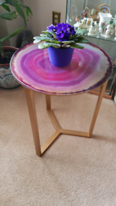 glass top  table...decorative pattern