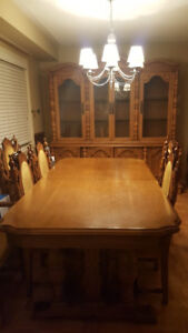 dining table and cabinet chairs