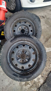 (2) 195/60r14 winter tires on steel rims (4 bolt)