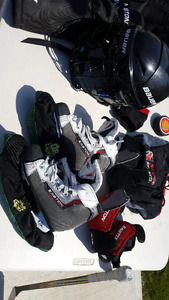 Grit hockey bag (junior) and various hockey equipment