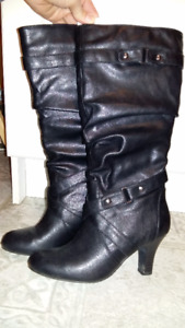Black leather dress boots for sale