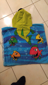 Great Gift- New 5/6 year old- Shark Hooded towel Cape