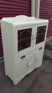 Beautiful Vintage White Dining Room China Display Cabinet