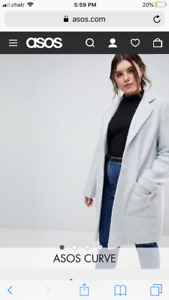 ASOS LONG GREY TECTURED COAT size 26