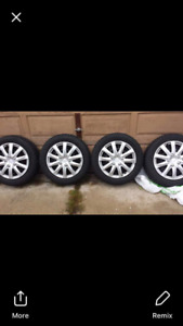 SET OF 4 WINTER TIRES ON RIMS 185-60R15  84s, 5 BOLT PATTERN