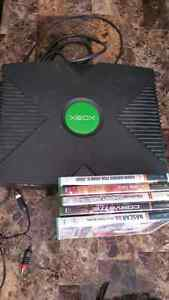 Xbox with about 40 games and controller