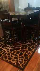 Dining set with area rug