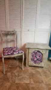 Vintage refinished chair and table/ cupboard