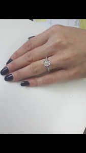 1.25 CTW Radiant Cut Diamond engagement ring in 14k white gold!