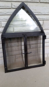 Unique Cast Steel Angle & Fire Glass Fireplace Door