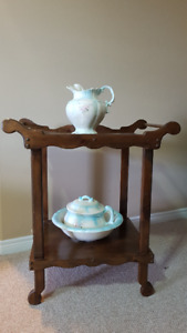 Wash stand with pitcher and basin, handmade 30 years