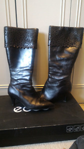 Ecco black leather boots - women's size 10/41