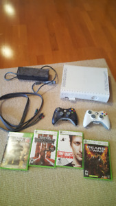 Xbox 360 w/ cables, controllers and games