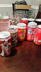 Coca cola cans and glasses collectible Coke