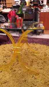 Vintage Yellow Lucite Coffee Table with Glass Top London Ontario image 1