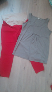 Maternity lot red ankle pants & grey shirt size XL