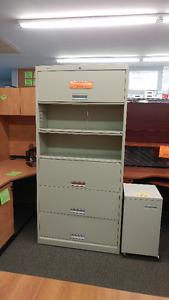 Used HON 6 shelf files with locking receding doors