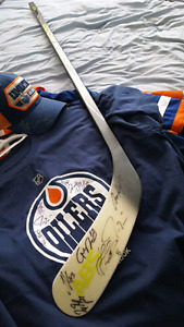 Hockey Stick Oilers Team and Connor McDavid