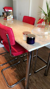 Set of 4 New  & modern bar stools - red