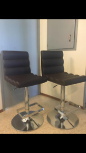 Pair of leather bar stools