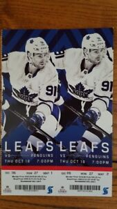 Toronto Maple Leafs vs Pittsburgh Penguins Oct 18 Aisle