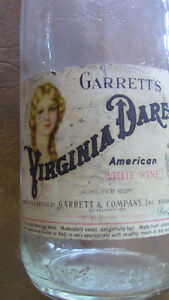 Vintage Garrett's Virginia-Dare Embossed Wine Bottle Kitchener / Waterloo Kitchener Area image 2