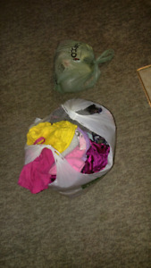 Bag of babygirl clothes and some toys