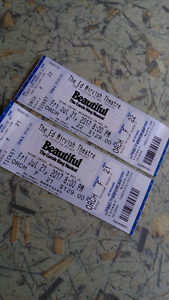 """""""Beautiful the Carole king musical """" two tickets"""
