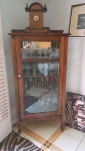 Solid wood antique Curio cabinet.