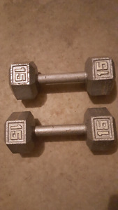 15 pound hex dumbbell set
