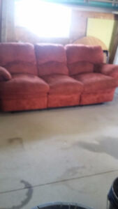 Recliner couch, chair and T.V.