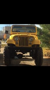 Jeep cj 7 lifted on 38 inch tires and Mint 99 mustang