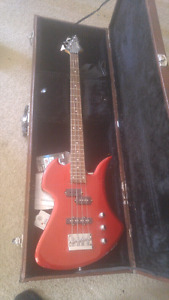 Bass guitar w/ carrying case and amp