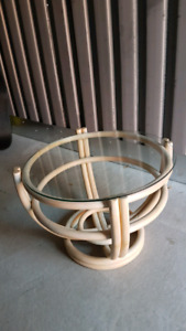 Rattan Glass Top End Table