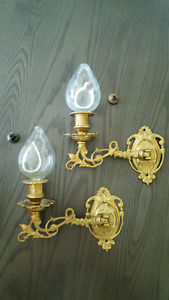 2 chandeliers murale pivotant antique brass doré