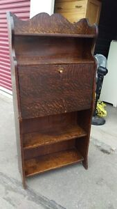 Antique Tiger Oak Drop Front Secretary Desk Shelving Unit