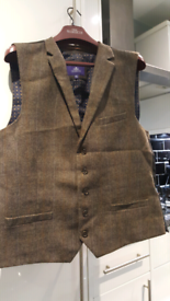 Mens brown tweed waistcoat and jacket from next