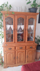 Oak China cabinet , working light and 2 glass shelves.