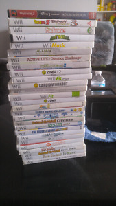 26 wii games and 1 ps2 game
