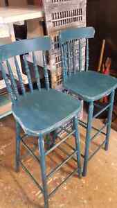 TWO RUSTIC TEAL BAR STOOLS